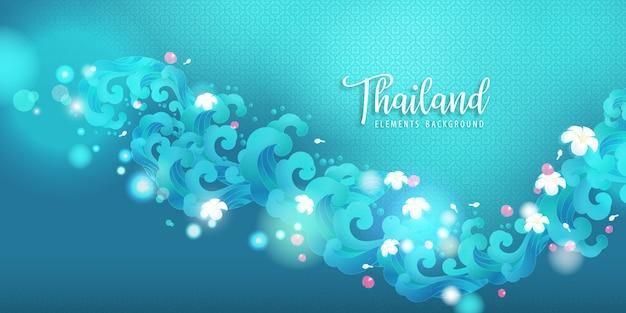 Wasserwelle und thailändische blumenillustration. für das wasserfest songkran thailand.