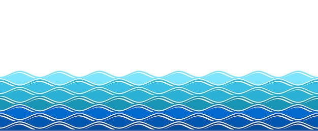 Wasserwellen. ozean surfende welle, isolierter meereshintergrund. abstrakte natursommerfahne. wellenloses nahtloses muster des vektors blau. wellenförmige kurve der abbildung, nahtlos fließende meereswelle