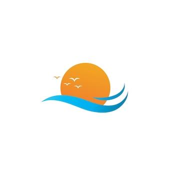 Wasserwellen- und sonnenvektorsymbol
