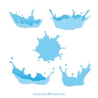 Water splash sammlung in flachen stil