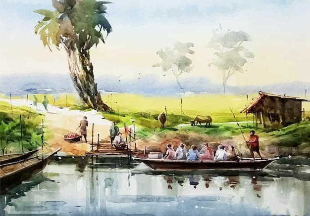 Waterclor-leute überqueren den fluss mit dem boot hand art