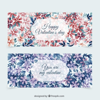 Watercolor floral valentine day-banner