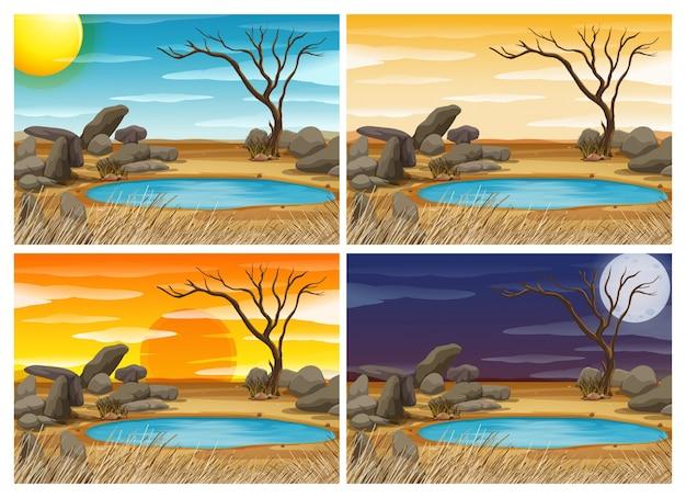 Waterhole sceen zu vier verschiedenen zeiten