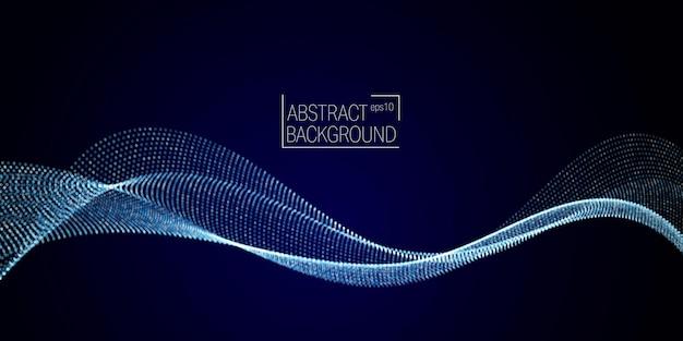 Wave-array aus leuchtenden punkten. welle dynamischer partikel fließt durch die dunkelheit. gepunktete kurven vektor abstrakten hintergrund.