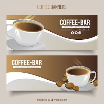 Wave-banner mit einer tasse kaffee