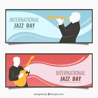 Wave-jazz-banner mit silhouetten