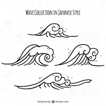 Wave-kollektion im japanischen stil