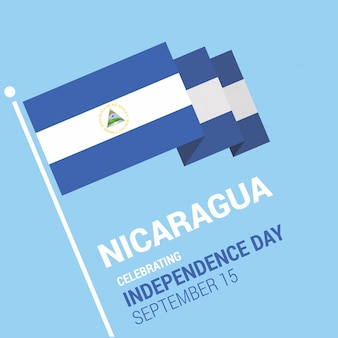 Waving 3d nicaragua flagge glücklichen unabhängigkeitstag