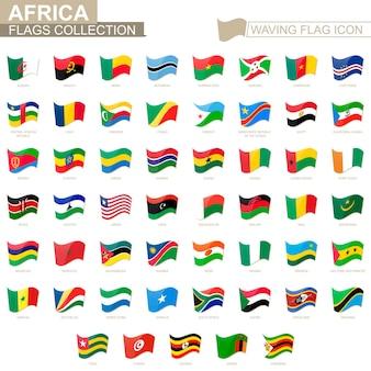 Waving flag icon, flaggen der afrikanischen länder alphabetisch sortiert. vektor-illustration.