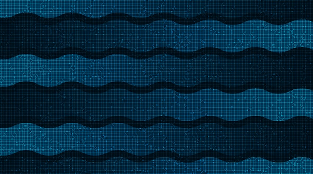 Waving speed line auf technologie-mikrochip-hintergrund, high-tech-digital- und internet-konzeptdesign
