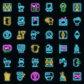 Wc-symbole gesetzt. umrisse von wc-vektorsymbolen neonfarbe auf schwarz