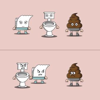 Wc-toilettenpapier und poop-illustration illustration von toiletten- und toilettenpapier, die wütend auf poop sind