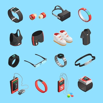 Wearable technology isometric icons set