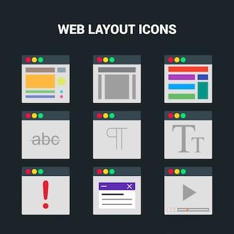 Web 20 bildschirme symbole gesetzt