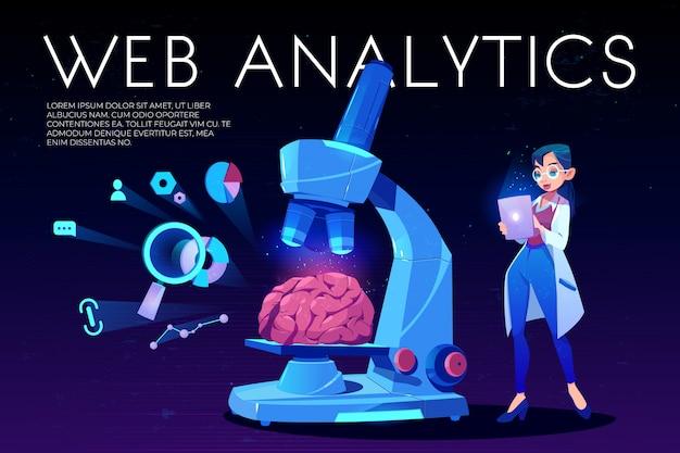 Web analytics hintergrund gehirn und seo-symbole