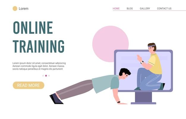 Web-app für online-trainings mit persönlichem sporttrainer eine vektorillustration