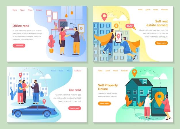 Web-banner der immobilienagentur, online-verkauf und kauf von privateigentum, zielseite der büromietfirma und website-vorlagen.