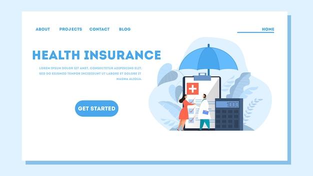 Web-banner des krankenversicherungskonzepts. menschen und arzt stehen an der großen zwischenablage mit dokument darauf. gesundheitswesen und medizinischer service. illustration