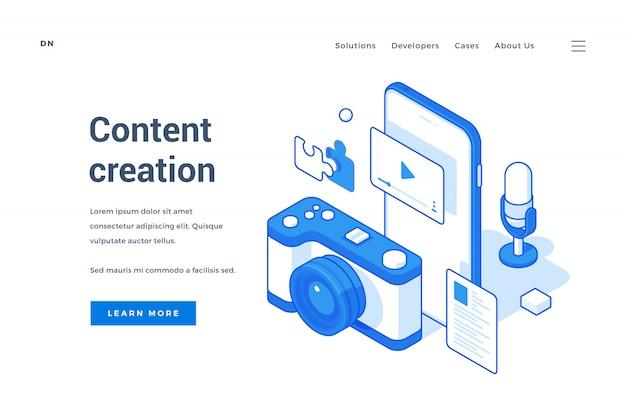 Web-banner für die zeitgenössische content-erstellungsbranche