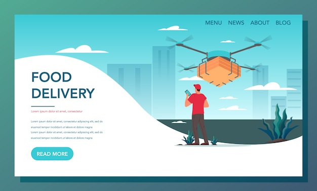 Web-banner für lebensmittellieferung. online-lieferung. lieferdrohne mit dem paket. moderne technologie für den kundenservice. zielseite für die lieferung von lebensmitteln.