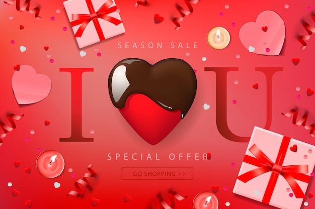 Web-banner für valentinstag-verkauf. draufsicht auf komposition mit schokoladenherz, geschenkbox, konfetti und luftschlangen, illustration.