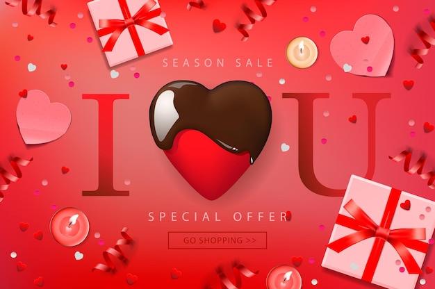 Web-banner für valentinstag-verkauf. zusammensetzung mit schokoladenherz, geschenkbox, konfetti und luftschlangen, vektorillustration.