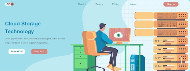 Web-banner-konzept der cloud-speichertechnologie