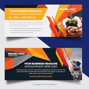 Web-banner mit orangen und dunklen elementen