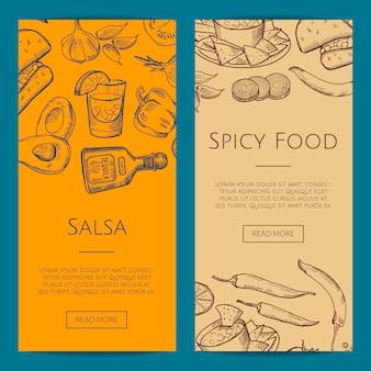 Web-banner oder flyer-vorlage mit skizzierten mexikanischen food-elementen
