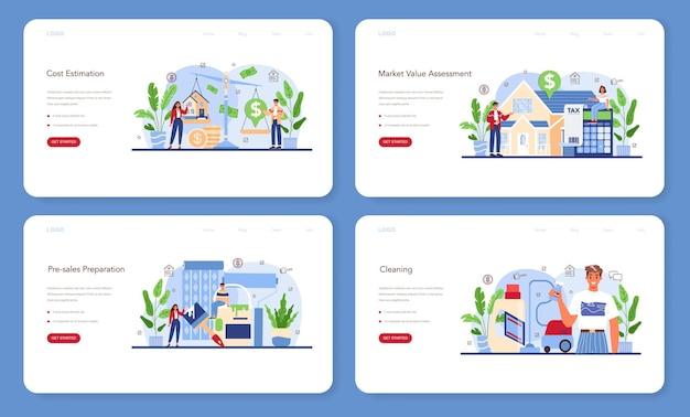 Web-banner oder landing-page-set für die immobilienbranche. unterstützung von immobilienmaklern und hilfe bei der immobilienkostenermittlung. vorbereitung und schätzung des hausvorverkaufs. flache vektorillustration