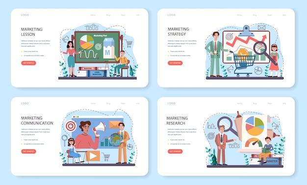 Web-banner oder landing-page-set für marketing-schulungskurse. lektion zur geschäftsförderung und kundenkommunikation. studenten machen marktforschung, marktanalyse. flache vektorillustration