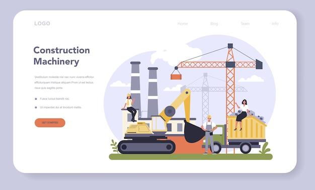 Web-banner oder landingpage der bau- und maschinenbauindustrie