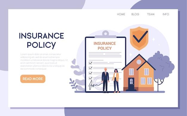 Web-banner oder landingpage der hausbesitzer-versicherung. idee der sicherheit und des schutzes von eigentum und leben vor beschädigung. sicherheit vor naturkatastrophen.