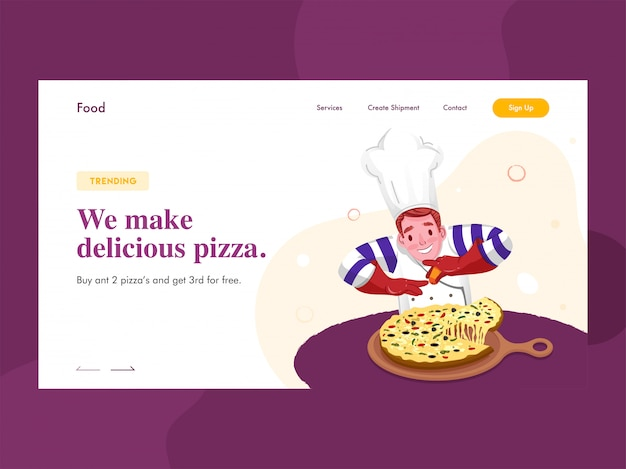 Web-banner oder landingpage mit chef-charakter präsentiert pizza in der pfanne und gegebene nachricht we make delicious pizza.