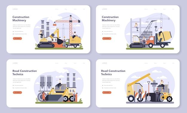 Web-banner oder landingpage-set der bau- und maschinenbauindustrie