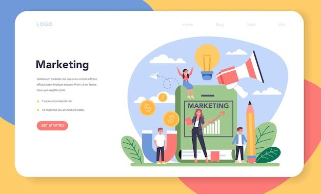 Web-banner oder zielseite des marketing-schulkurses