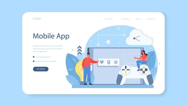 Web-banner oder zielseite für die entwicklung mobiler apps