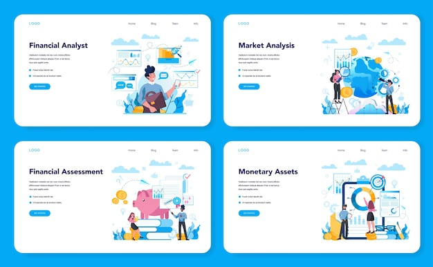 Web-banner oder zielseiten-set für finanzanalysten oder berater. geschäftscharakter, der finanzielle operation macht. marktanalyse, finanzielle bewertung, monetry assets. isolierte flache vektorillustration