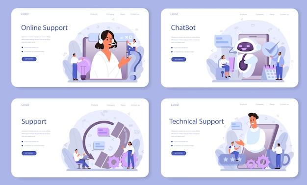 Web-banner oder zielseiten-set für technischen support