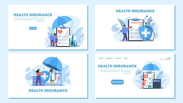 Web-banner-set des krankenversicherungskonzepts. leute, die an der großen zwischenablage mit dokument darauf stehen. gesundheitswesen und medizinischer service. illustration