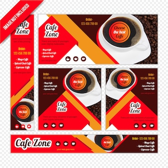 Web banner set für coffee shop