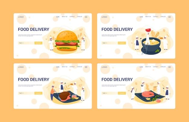 Web-banner-set für die lieferung von lebensmitteln