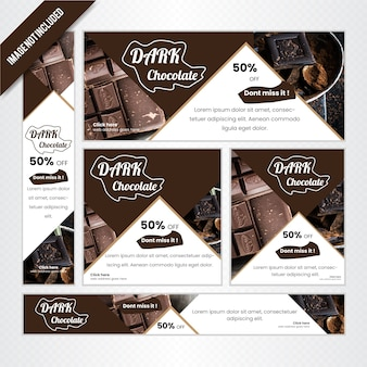 Web banner set für schokoladen-shop