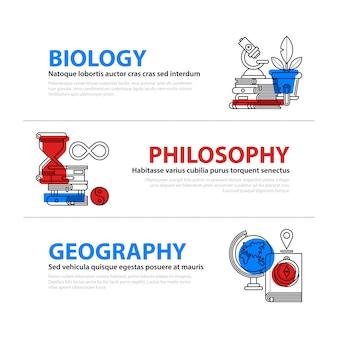 Web-banner über bildung und college-fächer