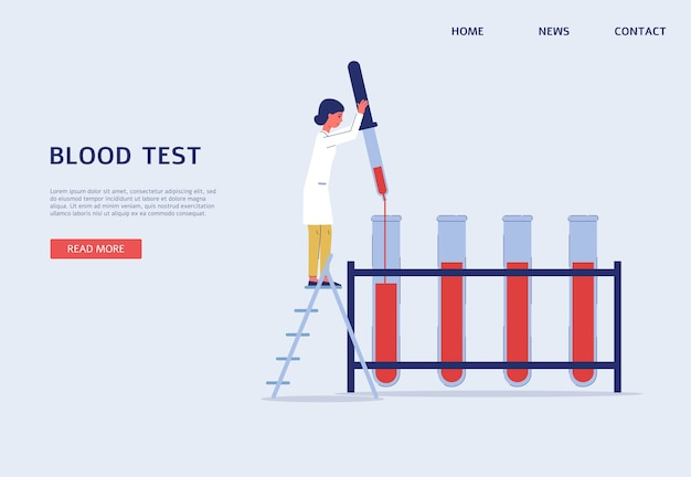 Web-banner-vorlage des bluttestlabors mit doktor-zeichentrickfigur, flach. landingpage-hintergrund für medizinische analyse und gesundheitsklinik.