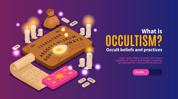 Web-banner-vorlage für isometrischen okkultismus