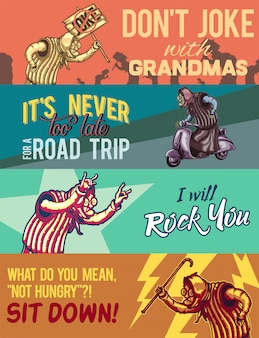 Web-banner-vorlage mit abbildungen einer alten dame mit holzbrett, auf roller, schaukeln und mit einem stock.