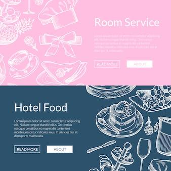 Web-banner-vorlagen mit handgezeichneten restaurant- oder zimmerservice-elementen