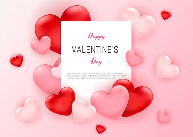Web banner zum valentinstag sale mit roten und rosa herzen