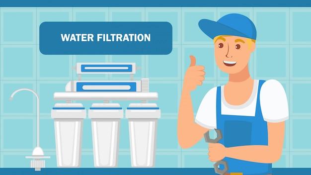 Web-banner zur installation des wasserfiltrationssystems